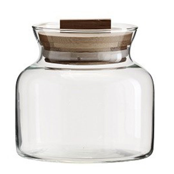 decorative clear glass jar with bamboo lid kitchen storage. Black Bedroom Furniture Sets. Home Design Ideas