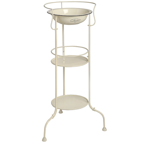 Large French Cream 2 Shelf Metal Wash Stand With Enamel