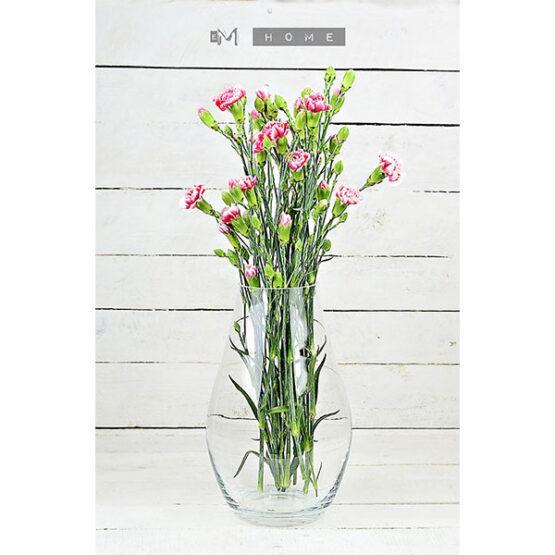 medium-clear-glass-vase-handmade-mouth-blown-flower-bunch-bouquet-tall-28-cm