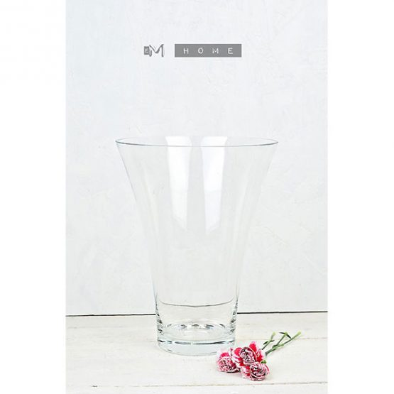clear-classic-glass-flower-vase-handmade-mouth-blown-bunch-bouquet-tall-26-cm