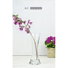 clear-glass-flower-vase-or-tealight-holder-2-in-1-handmade-bunch-bouquet-tall-25-cm