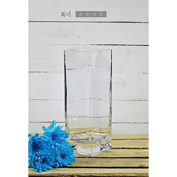 Thick Glass Vase Handmade Square Clear For Flowers