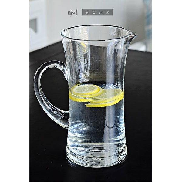 Handmade Clear Glass Footed Jug Pitcher Water Wine Juice Cocktail 1,4L Tall 23cm