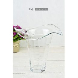 128-clear-glass-vase-curving-edges-handmade-flower-bunch-bouquet-tall-28-cm
