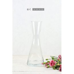 132-medium-clear-glass-flower-vase-handmade-mouth-blown-bunch-bouquet-tall-29-cm