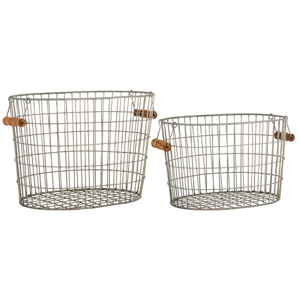 Oval Wire Baskets set of 2 with wooden handles by Ib Laursen