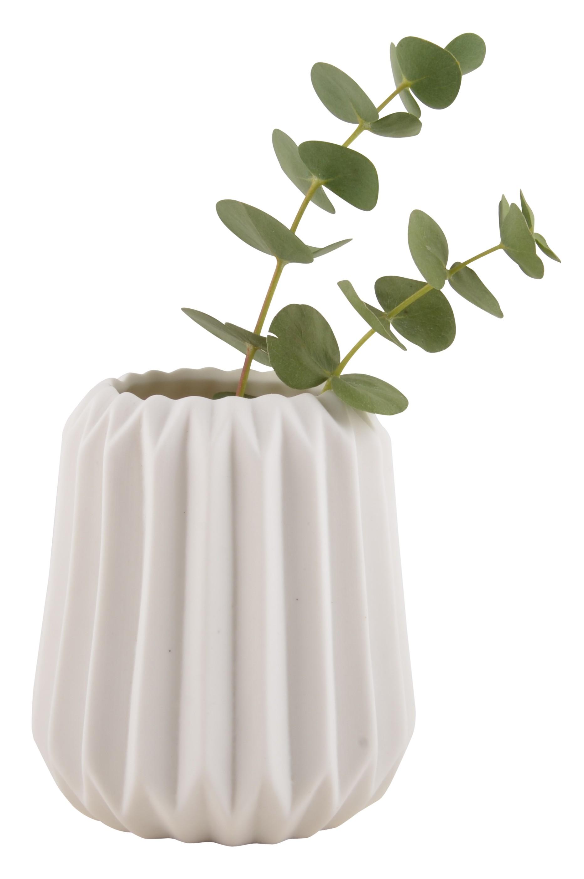 Small White Fluted Gabriella Nordic Design Vase by Ib Laursen