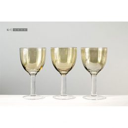 Luster Oyster Handmade Gold Wine Glasses set of 4