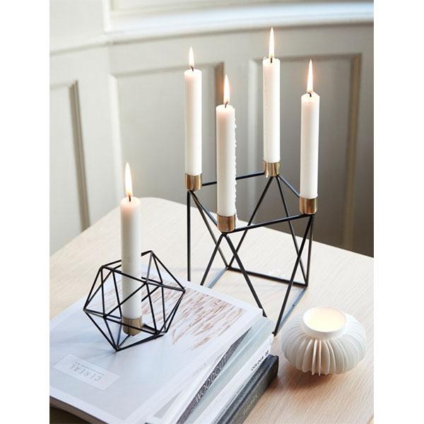 Modern Pretty Candle Holder Brass and Metal Danish Design