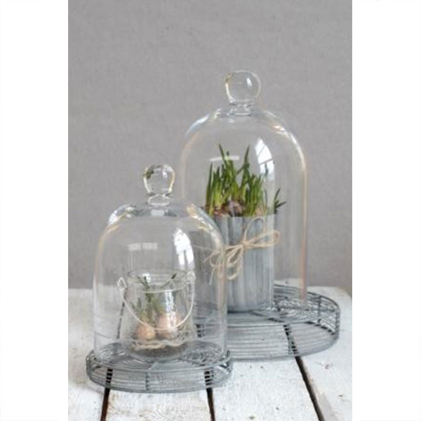Small Mouth Blown Glass Display Cover Cloche Bell Jar Dome Centrepiece 11.5 cm
