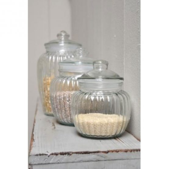 338-decorative-ribbed-glass-jar-with-lid-for-cookie-sweet-kitchen-storage-wedding-small-1