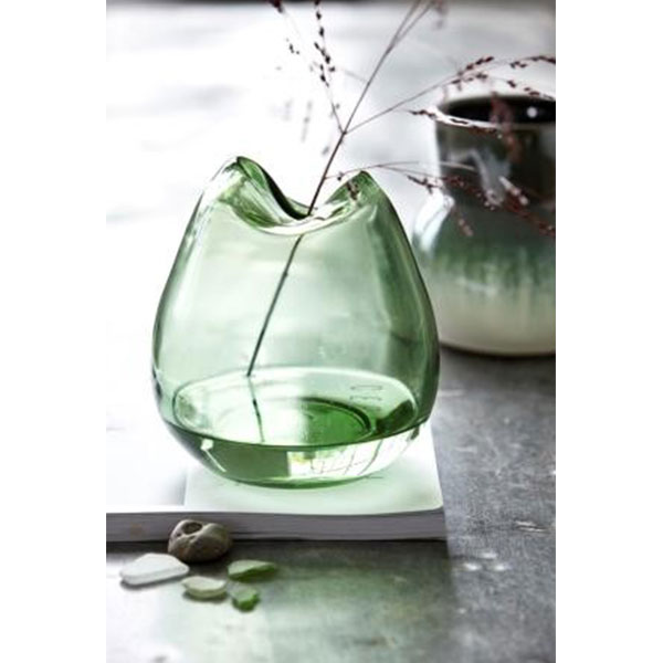Green Glass Wave Vase Danish Design By House Doctor