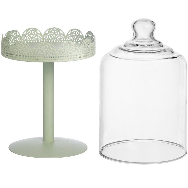 Mint Small Tall Display Glass Cake Stand With Filigree Design Dome