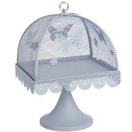 blue-butterfly-large-display-metal-cake-stand-with-mesh-lid-cover-24-cm