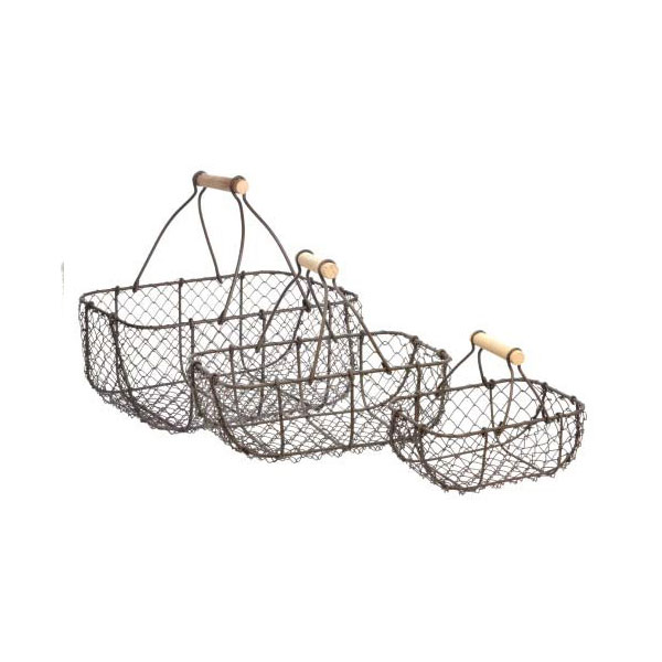 399 Metal Wire Rustic Storage Trug Baskets Set