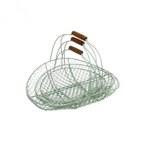 mint-green-flat-metal-wire-storage-baskets-set-of-3-with-wooden-handles