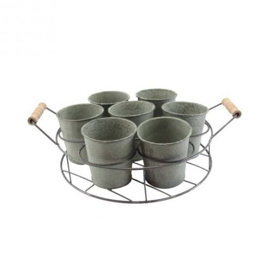 seven-tin-pots-in-wire-round-trug-planter-by-gisela-graham