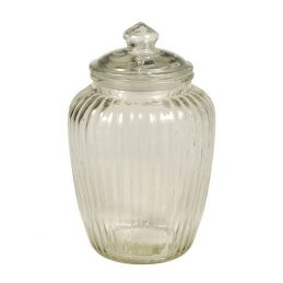 Decorative Ribbed Glass Jar Wavy With Lid for Cookie Sweet Kitchen Storage Wedding