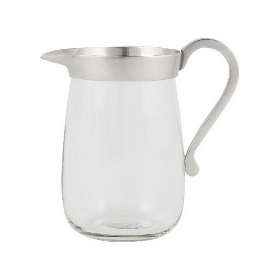 414 Small Glass Pitcher Jar Jug With Metal