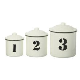 white-black-enamel-set-of-3-distressed-kitchen-storage-canister-jar