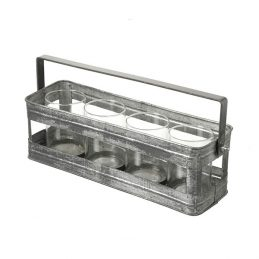 440-antique-style-metal-zinc-holder-basket-carrier-rack-with-4-tumblers-glasses-by-parlane