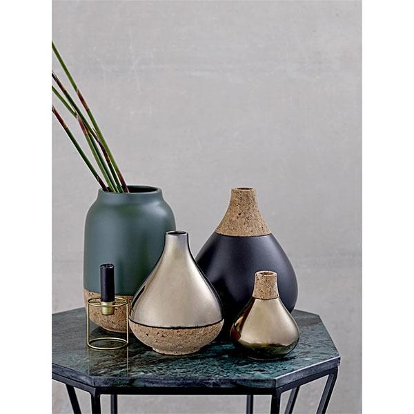 Large Drop Shape Navy Blue Cork Vase Danish Design By Bloomingville