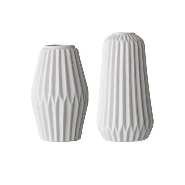 Bloomingville Set Of 2 Fluted Decorative Porcelain White Vases