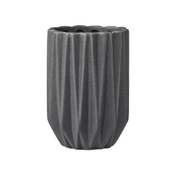 Bloomingville Fluted Decorative Dark Grey Ceramic Bathroom Tumbler