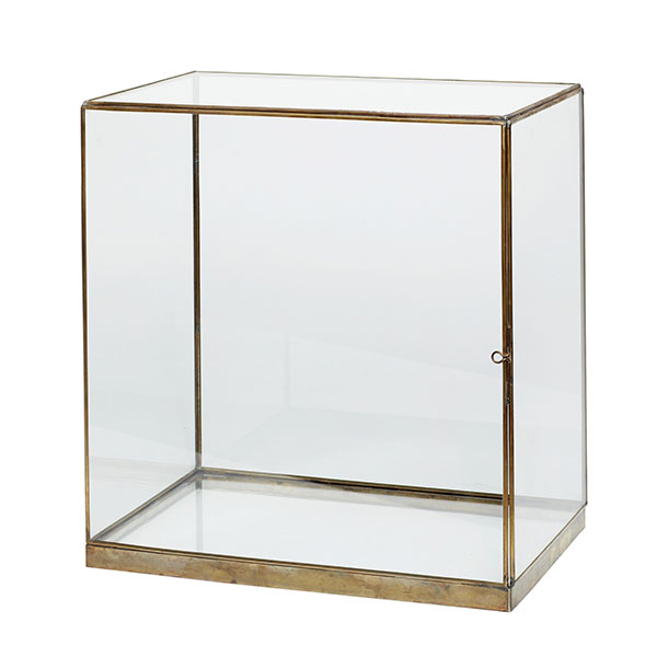 Large Glass And Brass Display Cover Dome Box 42 Cm Danish
