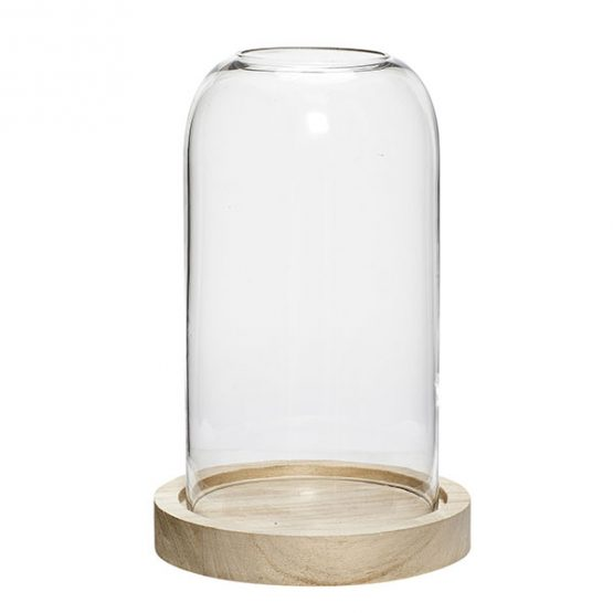 new york 2f599 9fe8e Small Glass Display Cover Dome Cloche With Hole Natural Wooden Base by  Hubsch 20 cm