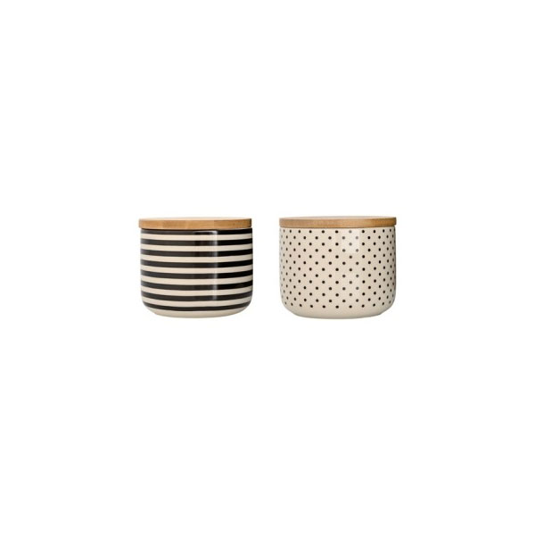Storage Jars With Bamboo Lid Set Of 2 Cream Black Stripes Bloomingville