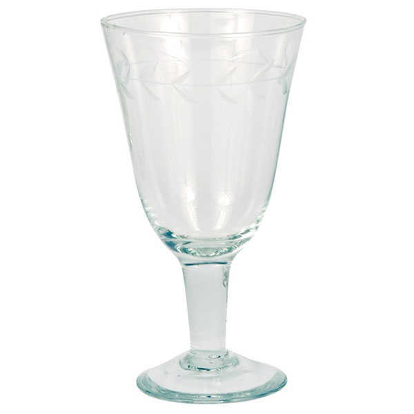 Set Of 6 Small Clear Wine Goblets Glasses With Cutting By