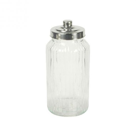 617-Tall-Round-Ribbed-Glass-Jar-Wavy-With-Metal-Lid-for-Cookie-Sweet-Kitchen-Storage-Wedding
