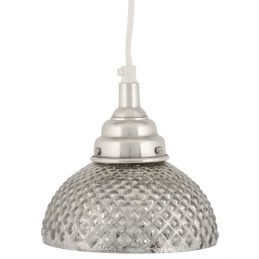 618-Ceiling-Pendant-Glass-Diamond-Pattern-Screen-&-Silver-Light-Lamp-by-Ib-Laursen