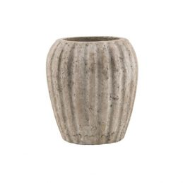 624-Crete-Clay-Pot-with-Grooves-Danish-Design-by-Ib-Laursen