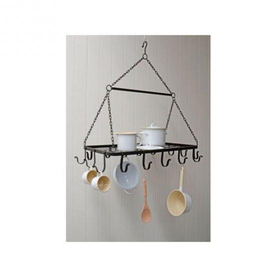 633-Black-16-Hook-Kitchen-Pot-Rack-Holder-Pan-Organizer-Cookware-Storage-Hanger-by-Ib-Laursen-1