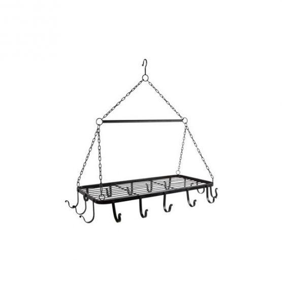 633-Black-16-Hook-Kitchen-Pot-Rack-Holder-Pan-Organizer-Cookware-Storage-Hanger-by-Ib-Laursen