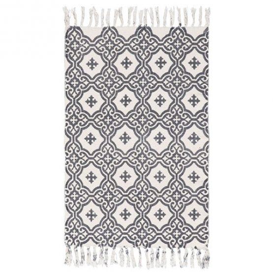 643-Flatweave-Cotton-Grey-Pattern-Rug-by-Ib-Laursen-55×85-cm