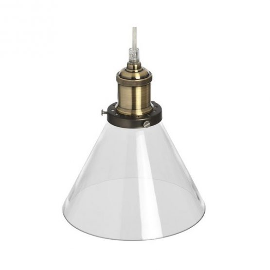 651-Brass-Effect-Clear-Glass-Cone-Pendant-Lamp-and-Ceiling-Attachment.-2