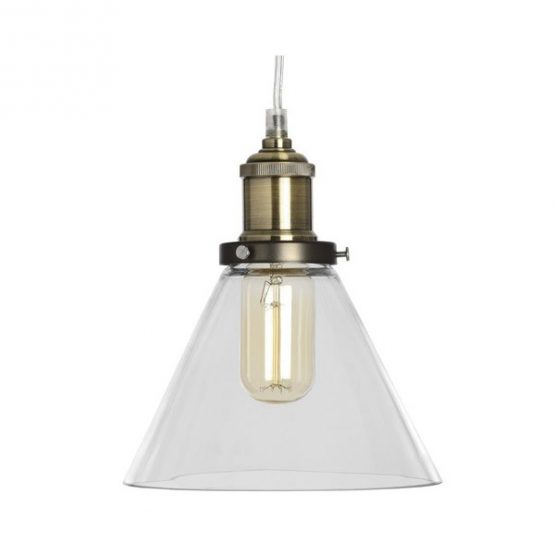 brass-effect-clear-glass-cone-pendant-lamp-and-ceiling-attachment