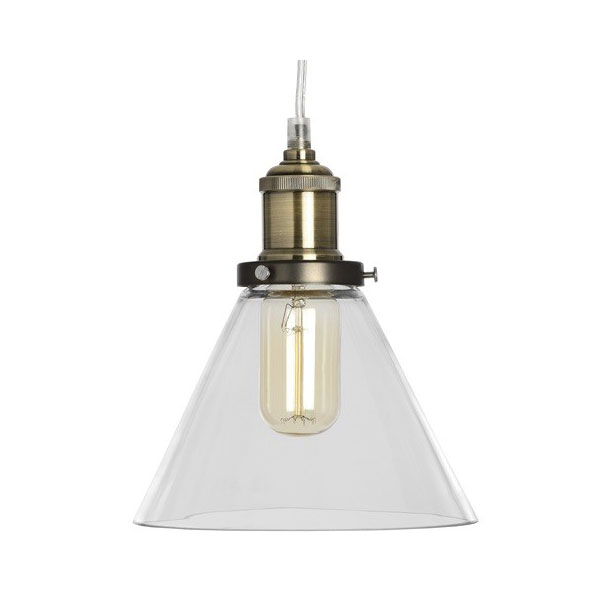 651-Brass-Effect-Clear-Glass-Cone-Pendant-Lamp-and-Ceiling-Attachment.-3