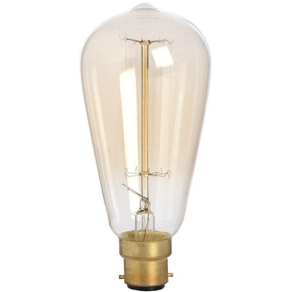 Salt Lamp Bulbs 40w : Edison Filament Teardrop Squirrel Cage Bulb - Bayonet 40W