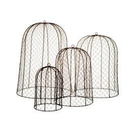 656-Set-of-4-Honey-Comb-Wire-Mesh-Brown-Garden-Dome-Cover-by-Parlane