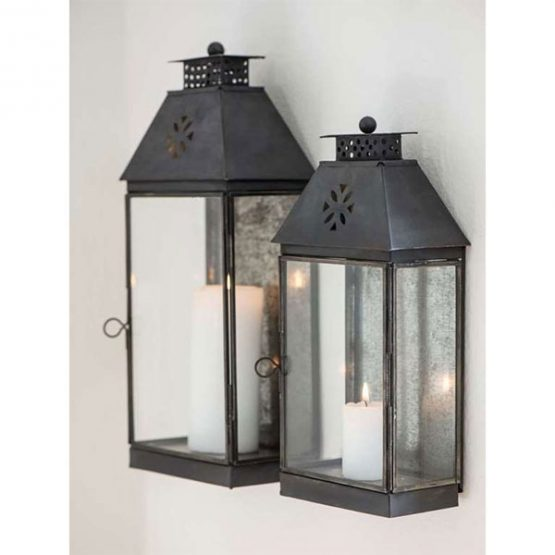 658-Glass-&-Metal-Black-Wall-Lantern