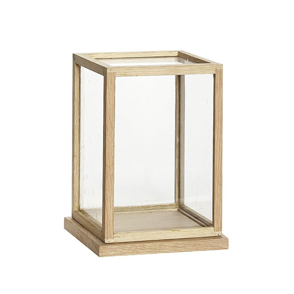 Glass Display Oak Cover Dome With Wooden Base Frame By