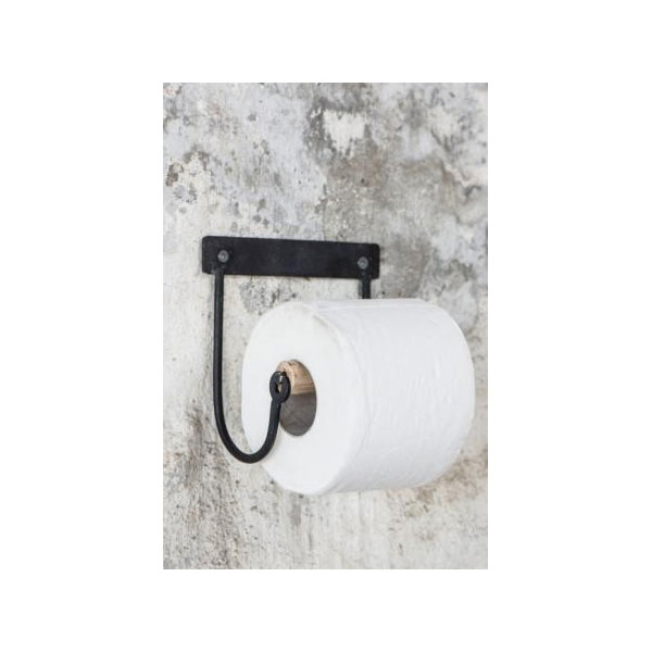 Industrial Black Toilet Paper Holder With Wooden Roll By