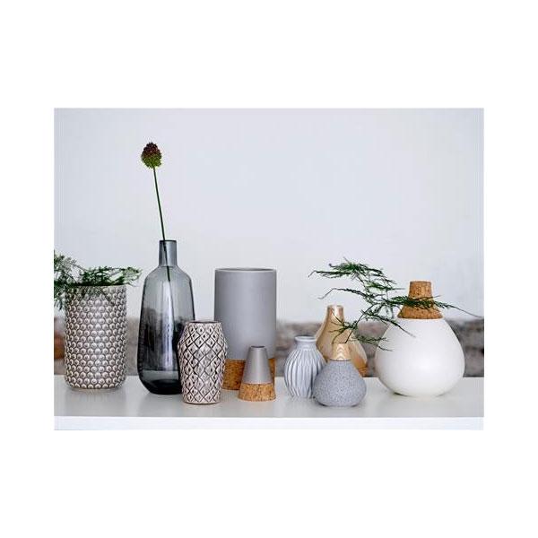 Decorative Stoneware Bubble Structure White Flower Vase By Bloomingville