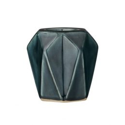 708-Ceramic-Dark-Green-Geometric-Votive-Tealight-Holder-by-Bloomingville