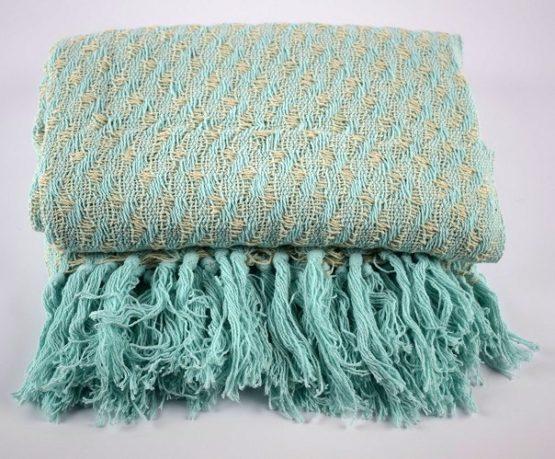 100-cotton-sofa-bed-green-beige-pattern-throw-blanket-plaid-125-x-150-cm