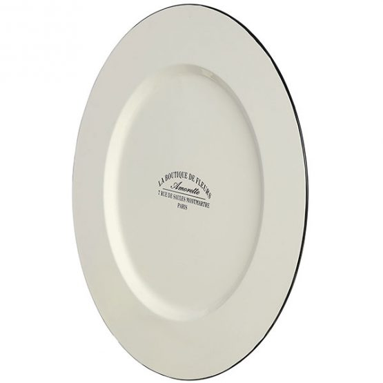 716-Large-French-White-Enamel-Amourelle-La-Boutique-de-Fleurs-Plate-41cm